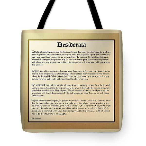 Desiderata Old English Square Tote Bag