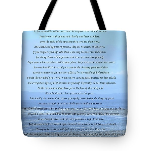 Desiderata On Beach And Ocean Scene Tote Bag by Barbara Griffin