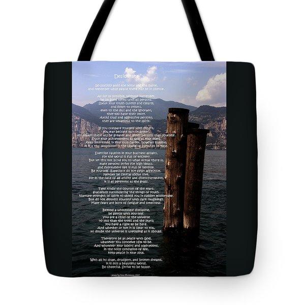 Desiderata On Lake View Tote Bag