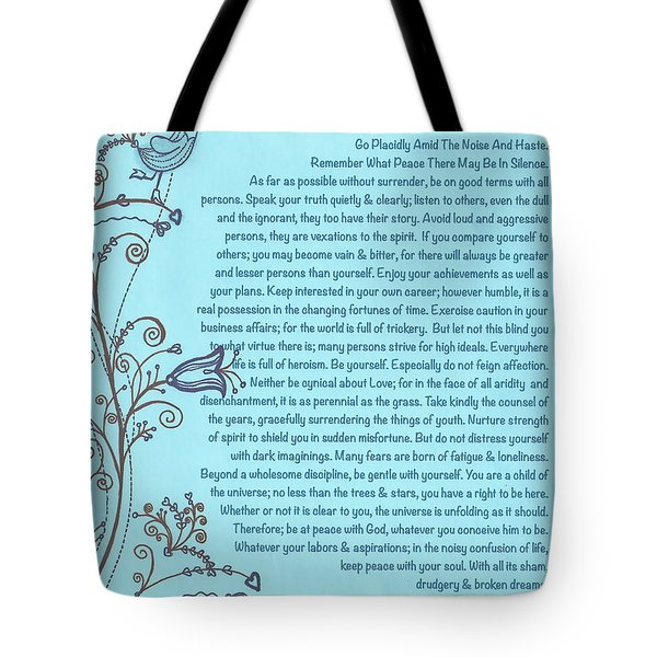 Desiderata Poster With Bluebird Of Happiness Singing A Love Song Tote Bag