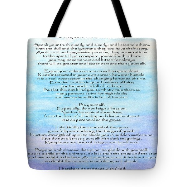 Desiderata Tote Bag by Roz Abellera Art
