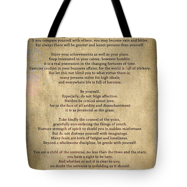 Desiderata - Scrubbed Metal Tote Bag by Paulette B Wright