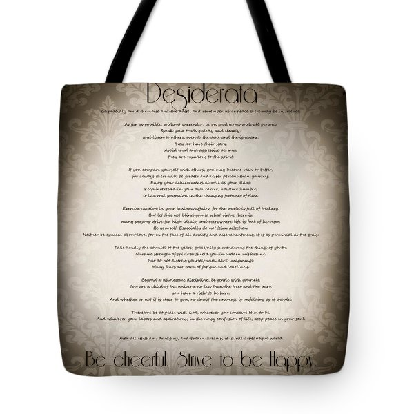 Desiderata - Vintage Sepia Tote Bag by Marianna Mills