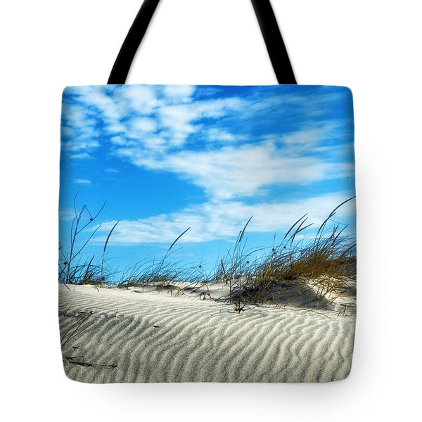Tote Bag featuring the photograph Designs In Sand And Clouds by Gary Slawsky