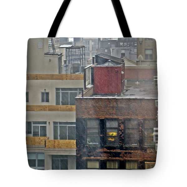 Tote Bag featuring the photograph Desk Lamp Through Lit Window by Lilliana Mendez