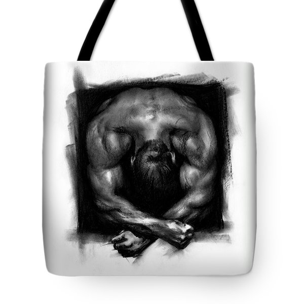 Tote Bag featuring the drawing Despondent by Paul Davenport