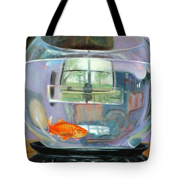 detail fish bowl of Fishing Tote Bag