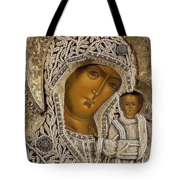 Detail Of An Icon Showing The Virgin Of Kazan By Yegor Petrov Tote Bag