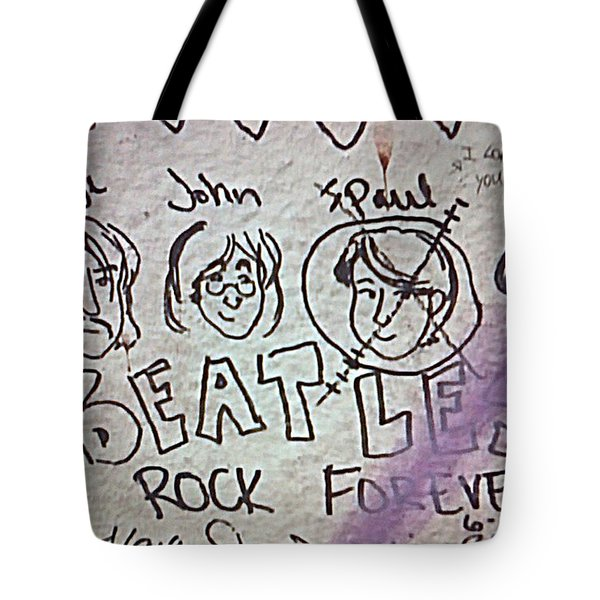 Detail Of Graffiti On Abbey Road Sign Tote Bag by George Pedro