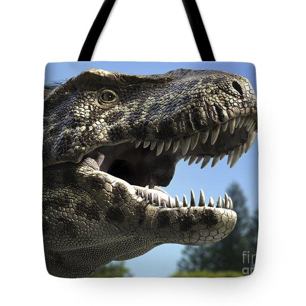 Detailed Headshot Of Tyrannosaurus Rex Tote Bag by Rodolfo Nogueira