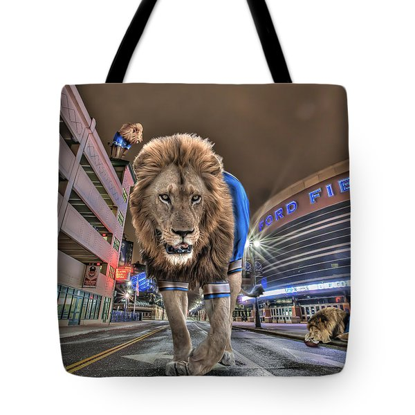 Detroit Lions At Ford Field Tote Bag