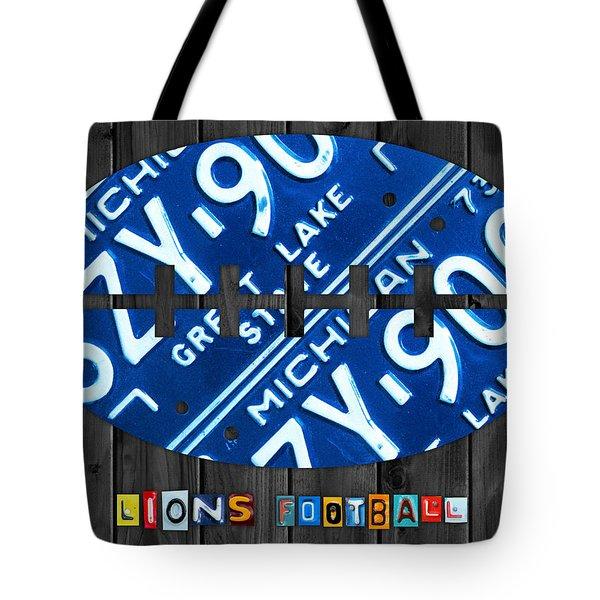 Detroit Lions Football Vintage License Plate Art Tote Bag by Design Turnpike