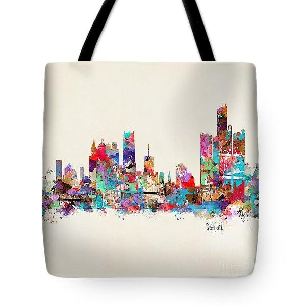 Detroit Michigan Skyline Square Tote Bag