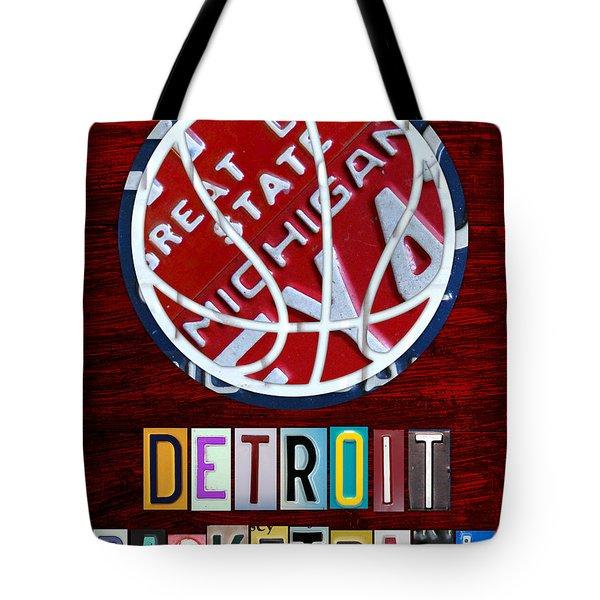 Detroit Pistons Basketball Vintage License Plate Art Tote Bag by Design Turnpike