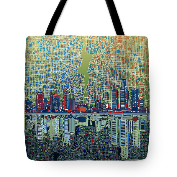 Detroit Skyline Abstract 3 Tote Bag
