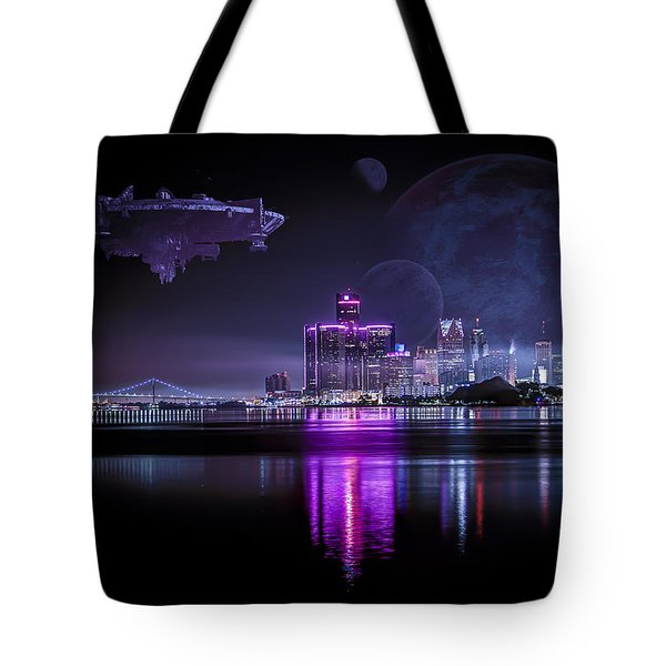 Tote Bag featuring the photograph Detroit Worlds by Nicholas  Grunas
