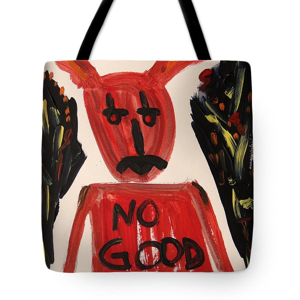 devil with NO GOOD tee shirt Tote Bag by Mary Carol Williams