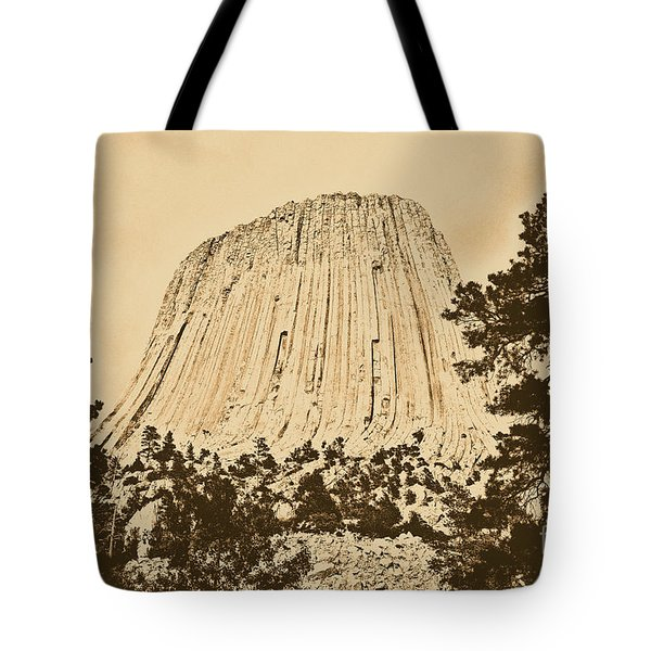 Devils Tower National Monument Between Trees Wyoming Usa Rustic Tote Bag by Shawn O'Brien