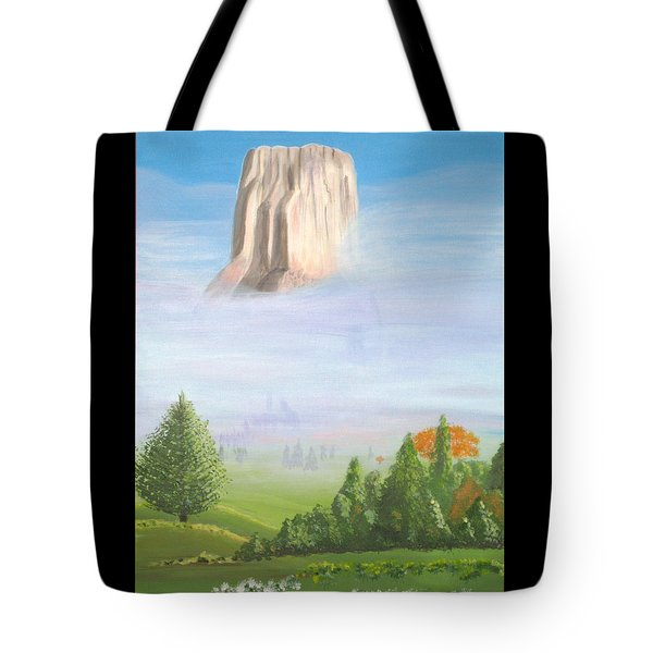 Tote Bag featuring the painting Devil's Tower  by Phyllis Kaltenbach