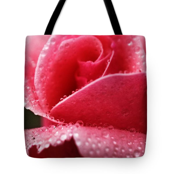 Dew Drops On Pink Tote Bag by Rebecca Davis