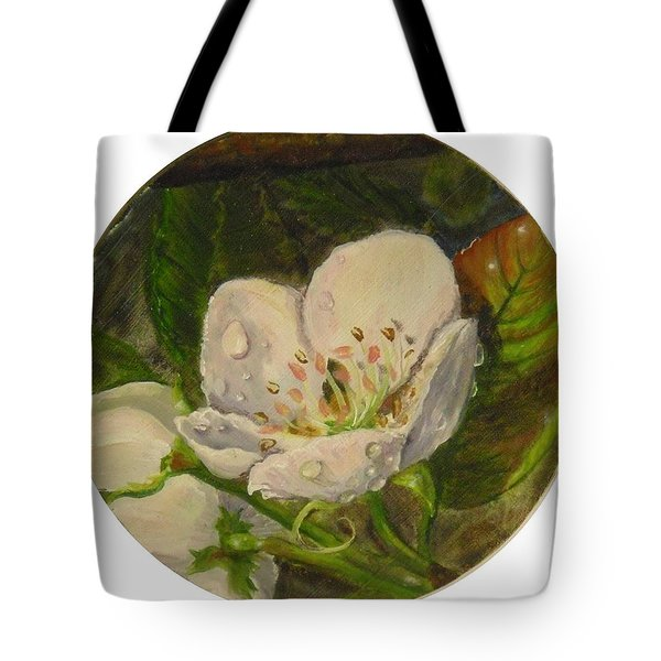 Dew Of Pear's Blooms Tote Bag