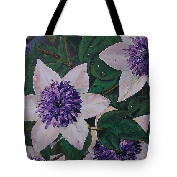 Tote Bag featuring the painting Clematis After The Rain by Sharon Duguay