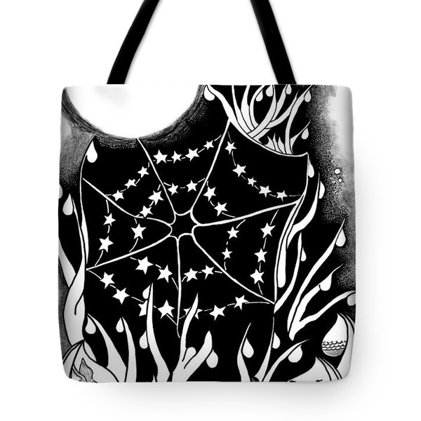 Tote Bag featuring the digital art Dewdrop Stars by Carol Jacobs