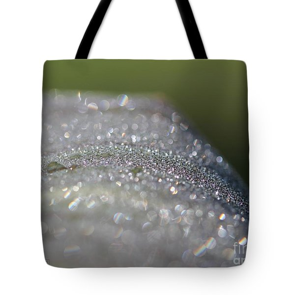 Dewdrops On Wyoming's Leaves Tote Bag by J McCombie