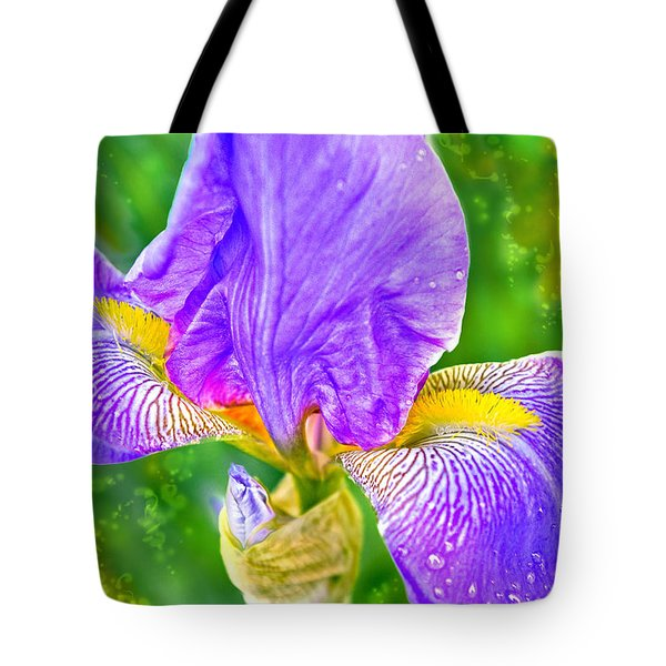 Tote Bag featuring the photograph Dewey Iris by Adria Trail