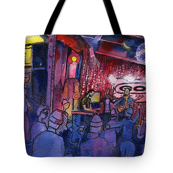 Dewey Paul Band At The Goat Tote Bag by David Sockrider