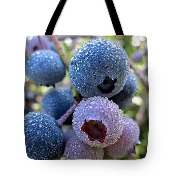 Dewy Blueberries Tote Bag by MTBobbins Photography
