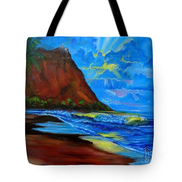Diamond Head Blue Tote Bag by Jenny Lee