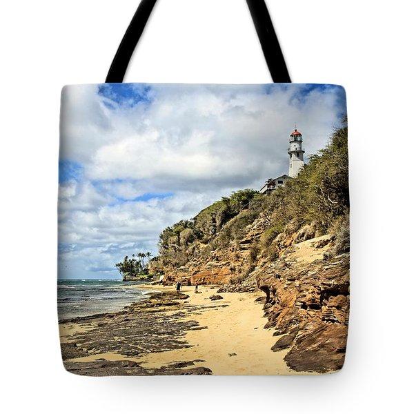 Diamond Head Lighthouse Tote Bag by DJ Florek