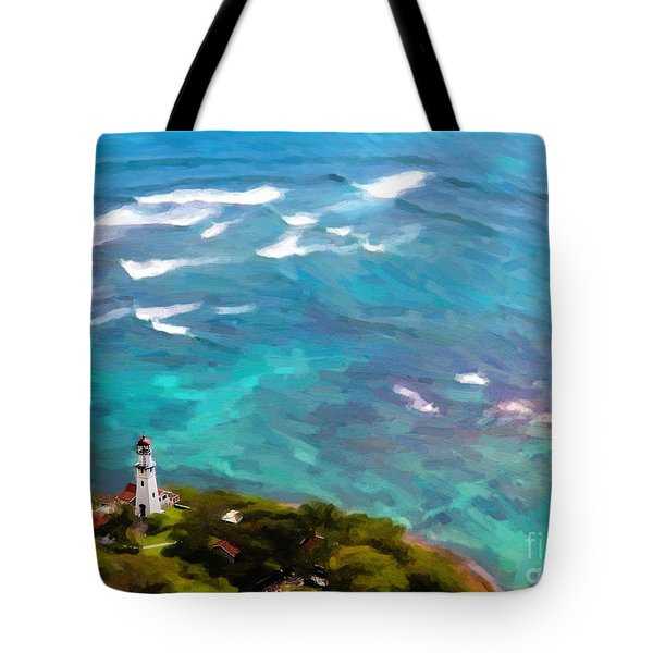 Diamond Head Lighthouse View Tote Bag
