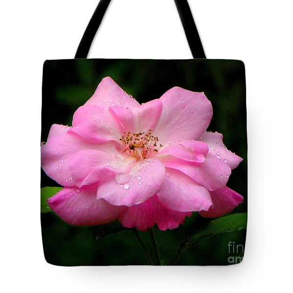 Tote Bag featuring the photograph Diamond-studded Rose by Mariarosa Rockefeller