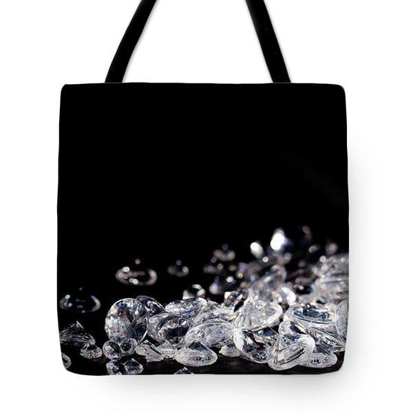 Diamonds On Black Background Tote Bag