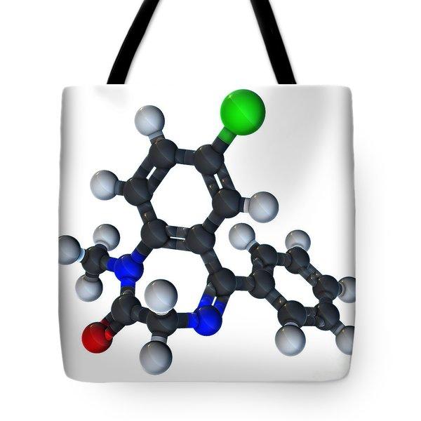 Diazepam Molecular Model Tote Bag by Evan Oto