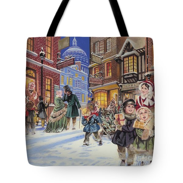 Dickensian Christmas Scene Tote Bag by Angus McBride