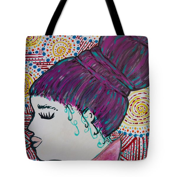 Tote Bag featuring the painting Did You See Her Hair by Jacqueline Athmann