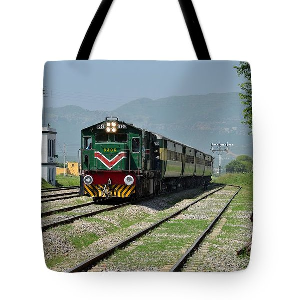 Tote Bag featuring the photograph Diesel Electric Locomotive Speeds Past Student by Imran Ahmed