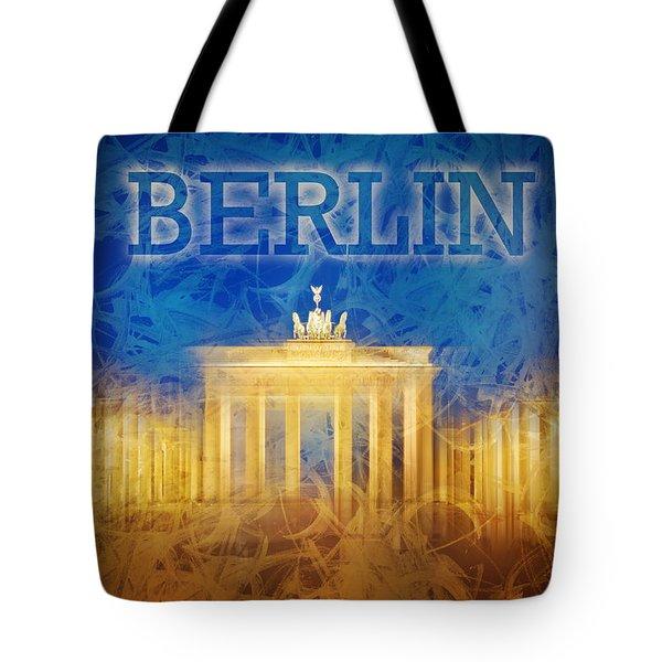 Digital-art Brandenburg Gate II Tote Bag by Melanie Viola