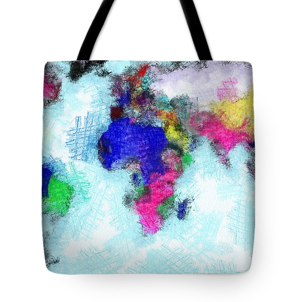 Digital Art Map Of The World Tote Bag by Georgi Dimitrov