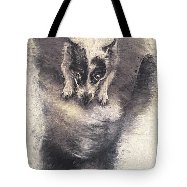 Digital Artwork Of A Mini Fox Terrier Dog Tote Bag