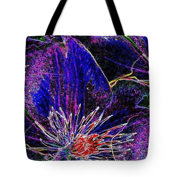 Digital Blue Purple Flowers Tote Bag