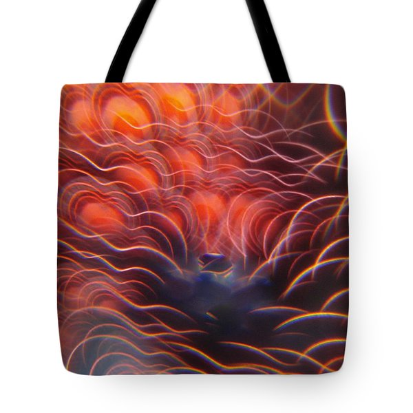Digital Red Hearts On Fire Tote Bag