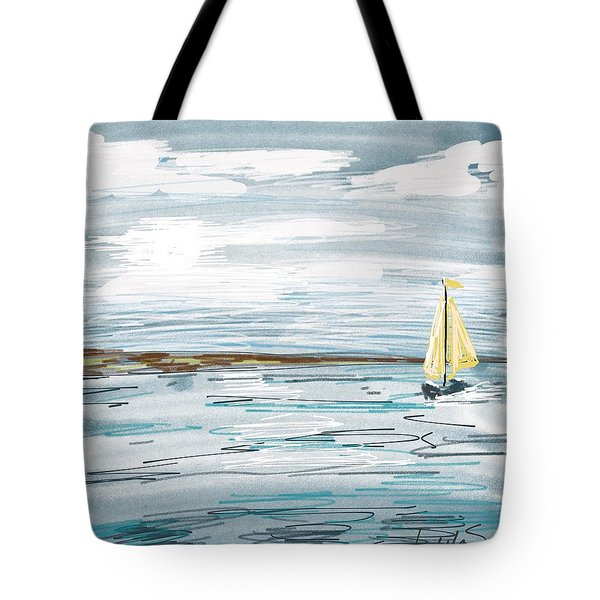 Digital Seascape In Blue Tote Bag by Isabella F Abbie Shores FRSA