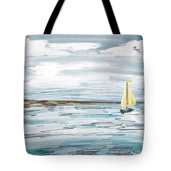 Digital Seascape In Blue Tote Bag