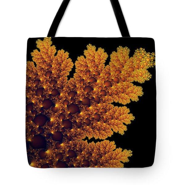 Digital Warm Golden Fractal Leaf Black Background Tote Bag by Matthias Hauser