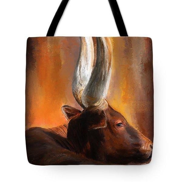 Dignified Pose- Texas Longhorn Paintings Tote Bag