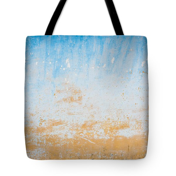Dilapidated Beige And Blue Wall Texture Tote Bag